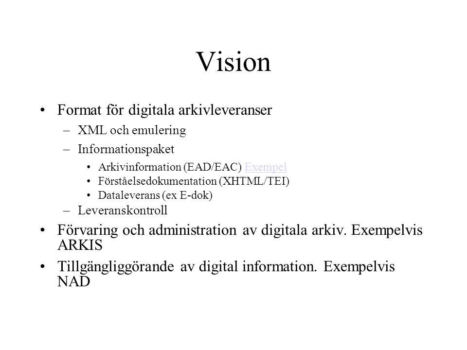 Vision Format för digitala arkivleveranser –XML och emulering –Informationspaket Arkivinformation (EAD/EAC) ExempelExempel Förståelsedokumentation (XH