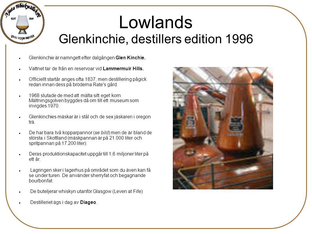 Lowlands Glenkinchie, destillers edition 1996 Glenkinchie är namngett efter dalgången Glen Kinchie. Vattnet tar de från en reservoar vid Lammermuir Hi