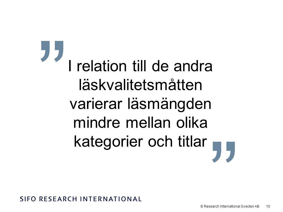 © Research International Sweden AB 10 I relation till de andra läskvalitetsmåtten varierar läsmängden mindre mellan olika kategorier och titlar