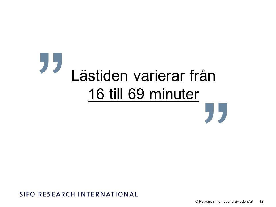 © Research International Sweden AB 12 Lästiden varierar från 16 till 69 minuter