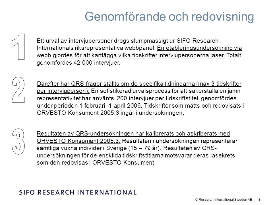 © Research International Sweden AB 14 65% av en genomsnittlig titels läsare - läser den mer än en gång