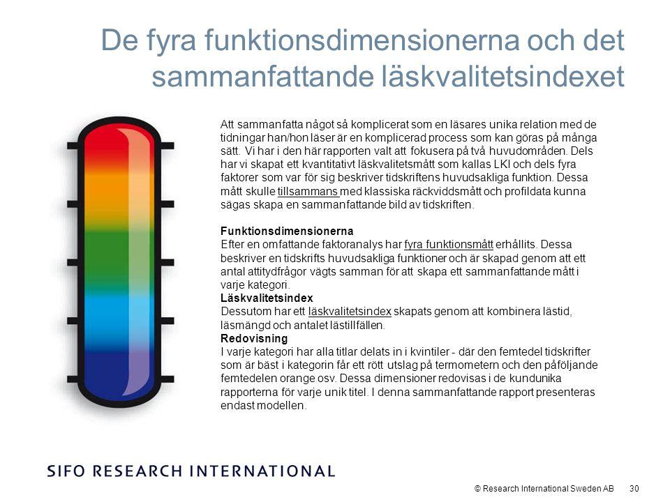 © Research International Sweden AB 30 De fyra funktionsdimensionerna och det sammanfattande läskvalitetsindexet Att sammanfatta något så komplicerat som en läsares unika relation med de tidningar han/hon läser är en komplicerad process som kan göras på många sätt.