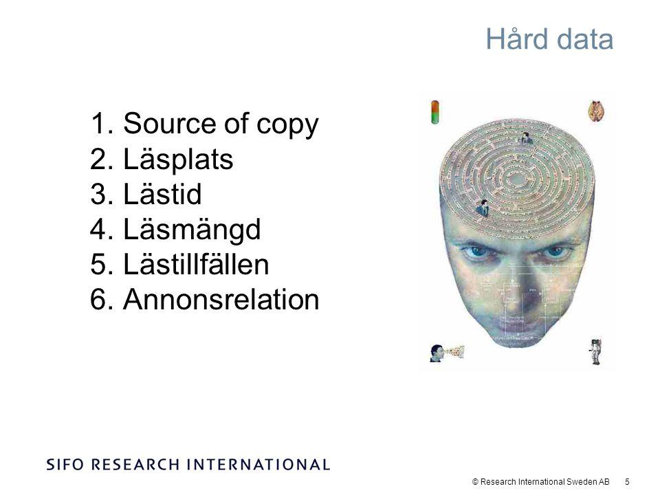 © Research International Sweden AB 6 Mjuk data 1.Totalbetyg 2.Avsaknad 3.Favorittidning 4.Unika egenskaper (27 egenskaper) 5.Attitydbatteri (20 attityder)