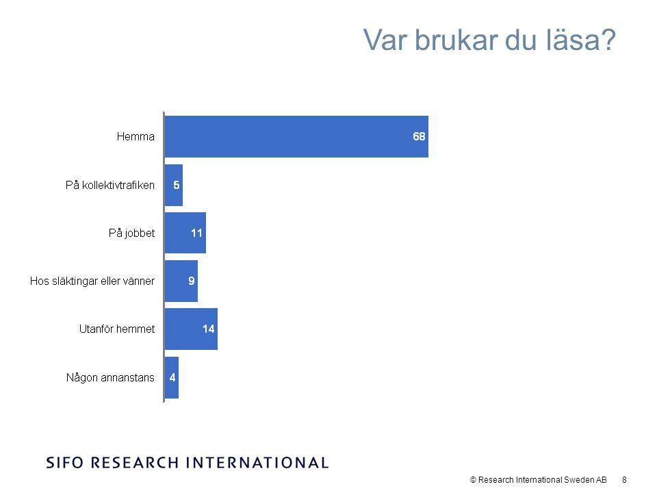 © Research International Sweden AB 9 Den genomsnittliga läsandelen i undersökningen är 79%