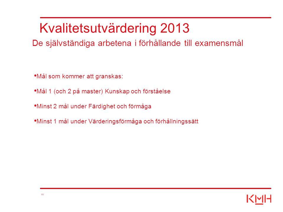 11 Kvalitetsutvärdering 2013 Mål som kommer att granskas: Mål 1 (och 2 på master) Kunskap och förståelse Minst 2 mål under Färdighet och förmåga Minst