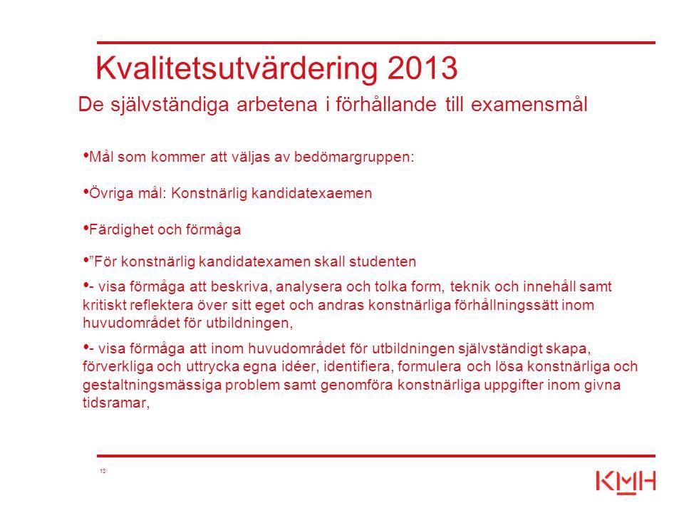 """13 Kvalitetsutvärdering 2013 Mål som kommer att väljas av bedömargruppen: Övriga mål: Konstnärlig kandidatexaemen Färdighet och förmåga """"För konstnärl"""