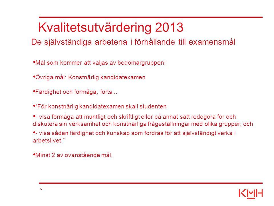 """14 Kvalitetsutvärdering 2013 Mål som kommer att väljas av bedömargruppen: Övriga mål: Konstnärlig kandidatexamen Färdighet och förmåga, forts... """"För"""