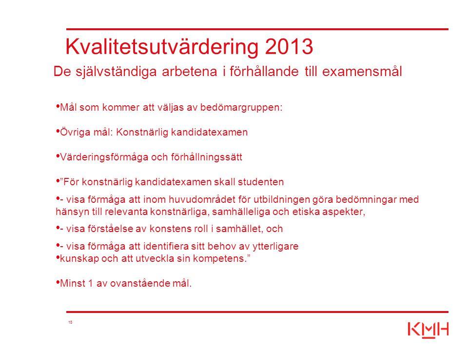 15 Kvalitetsutvärdering 2013 Mål som kommer att väljas av bedömargruppen: Övriga mål: Konstnärlig kandidatexamen Värderingsförmåga och förhållningssät