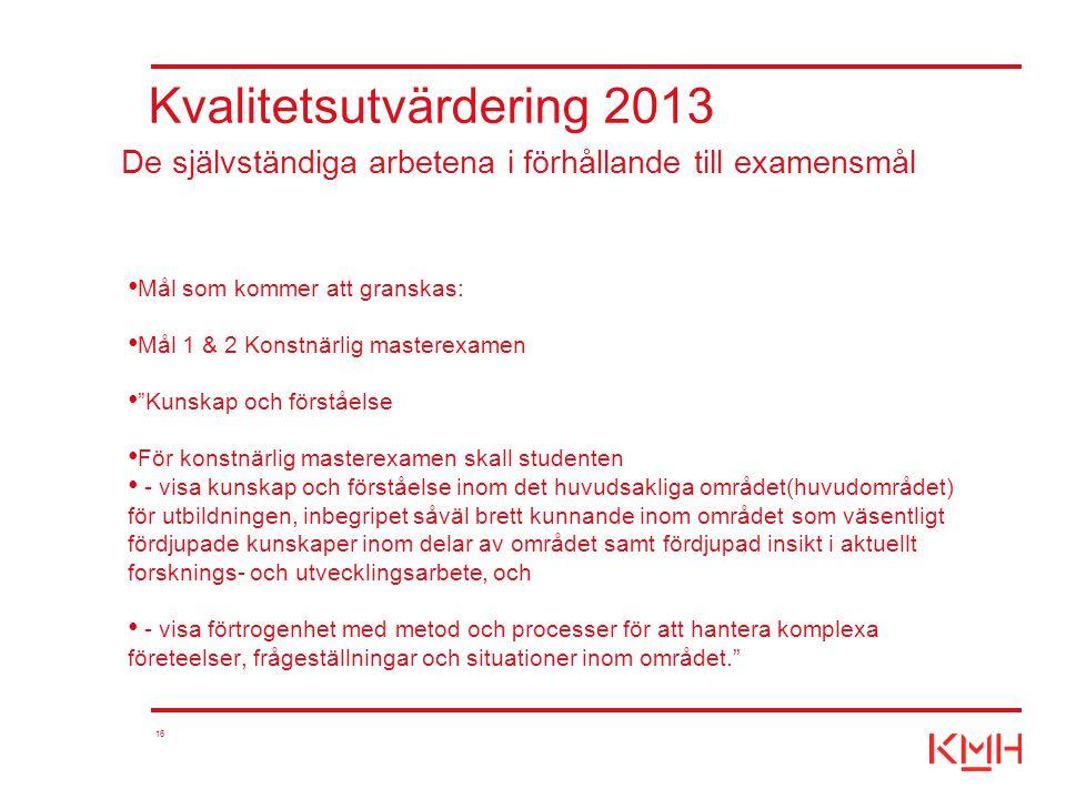"""16 Kvalitetsutvärdering 2013 Mål som kommer att granskas: Mål 1 & 2 Konstnärlig masterexamen """"Kunskap och förståelse För konstnärlig masterexamen skal"""