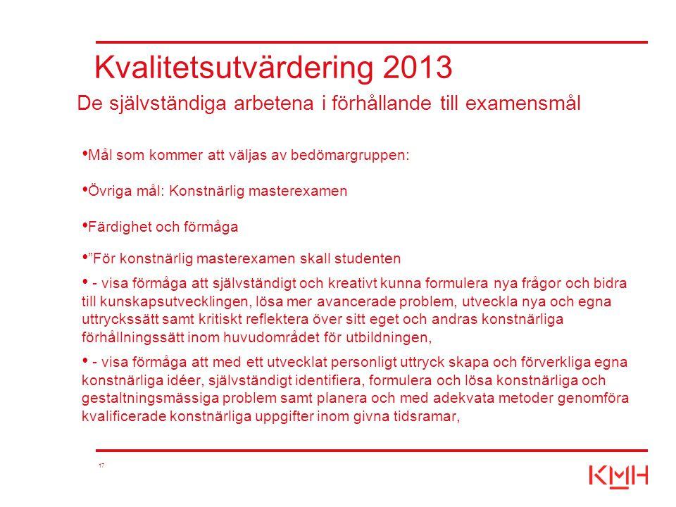 """17 Kvalitetsutvärdering 2013 Mål som kommer att väljas av bedömargruppen: Övriga mål: Konstnärlig masterexamen Färdighet och förmåga """"För konstnärlig"""