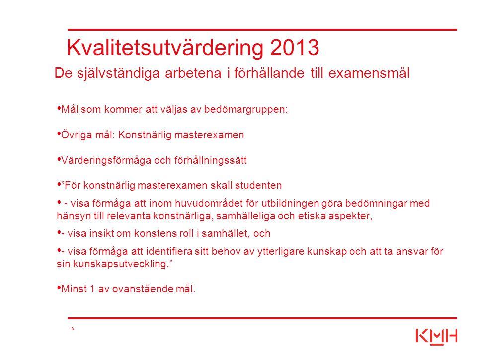 19 Kvalitetsutvärdering 2013 Mål som kommer att väljas av bedömargruppen: Övriga mål: Konstnärlig masterexamen Värderingsförmåga och förhållningssätt
