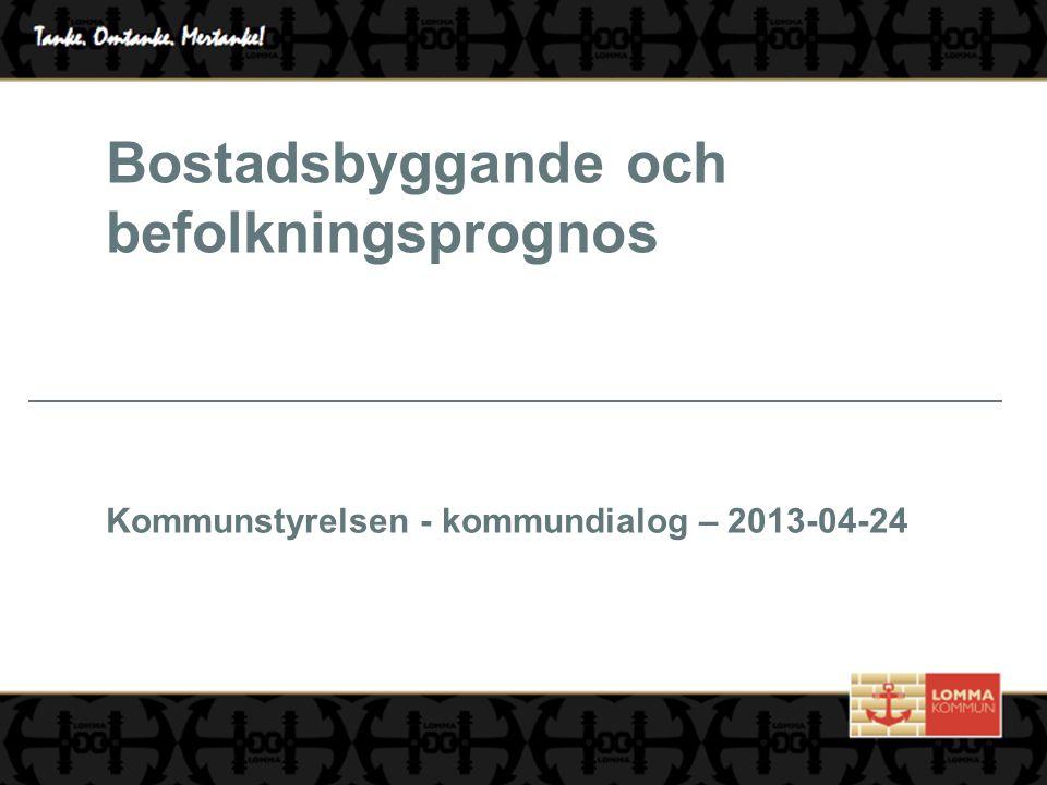 Bostadsbyggande och befolkningsprognos Kommunstyrelsen - kommundialog – 2013-04-24