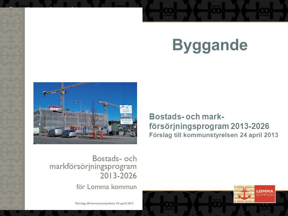 Byggande Bostads- och mark- försörjningsprogram 2013-2026 Förslag till kommunstyrelsen 24 april 2013