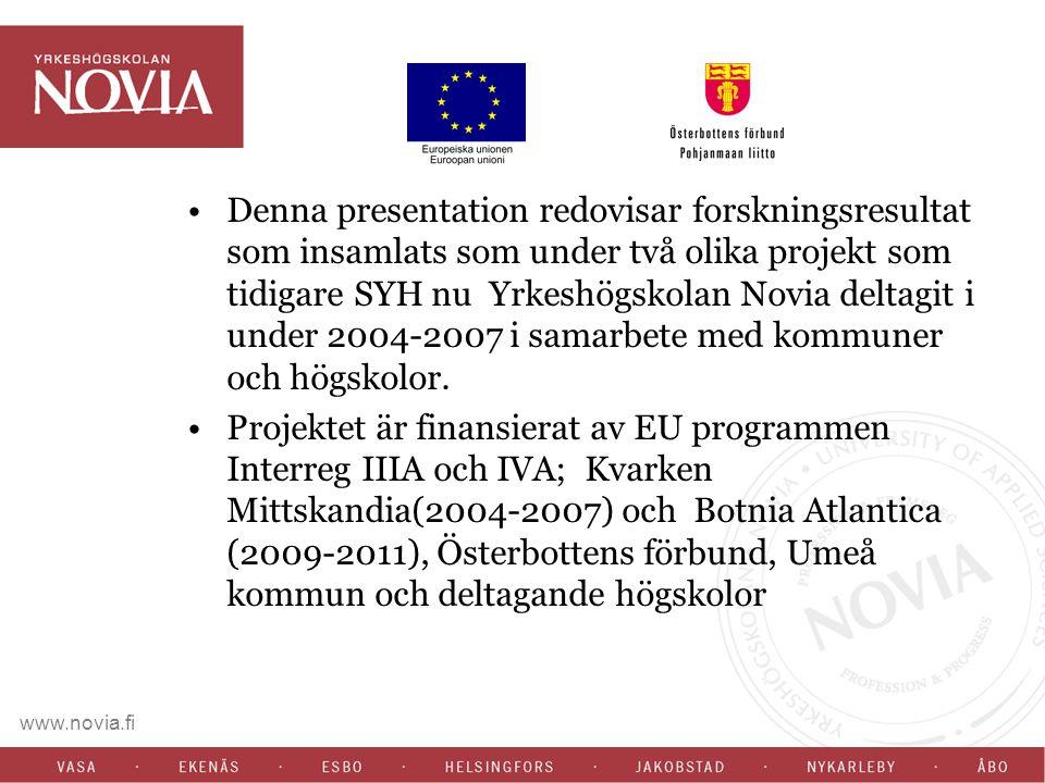 www.novia.fi Denna presentation redovisar forskningsresultat som insamlats som under två olika projekt som tidigare SYH nu Yrkeshögskolan Novia deltag