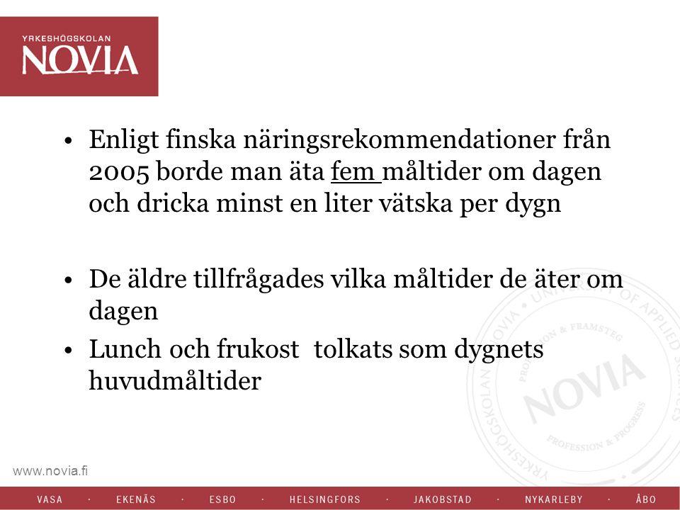 www.novia.fi Enligt finska näringsrekommendationer från 2005 borde man äta fem måltider om dagen och dricka minst en liter vätska per dygn De äldre ti