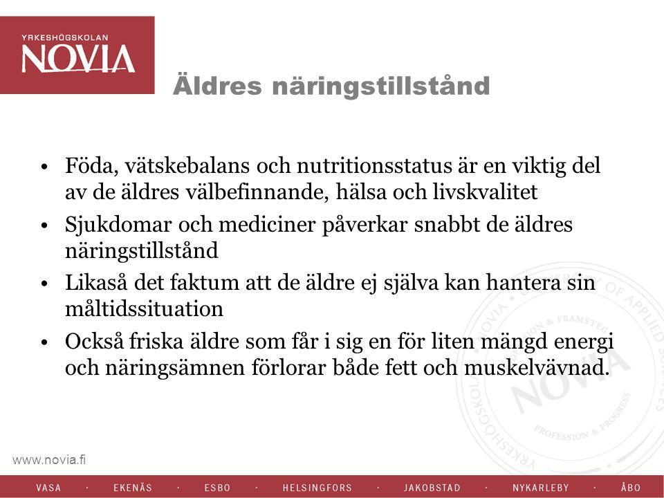 www.novia.fi Äldres näringstillstånd Föda, vätskebalans och nutritionsstatus är en viktig del av de äldres välbefinnande, hälsa och livskvalitet Sjukd