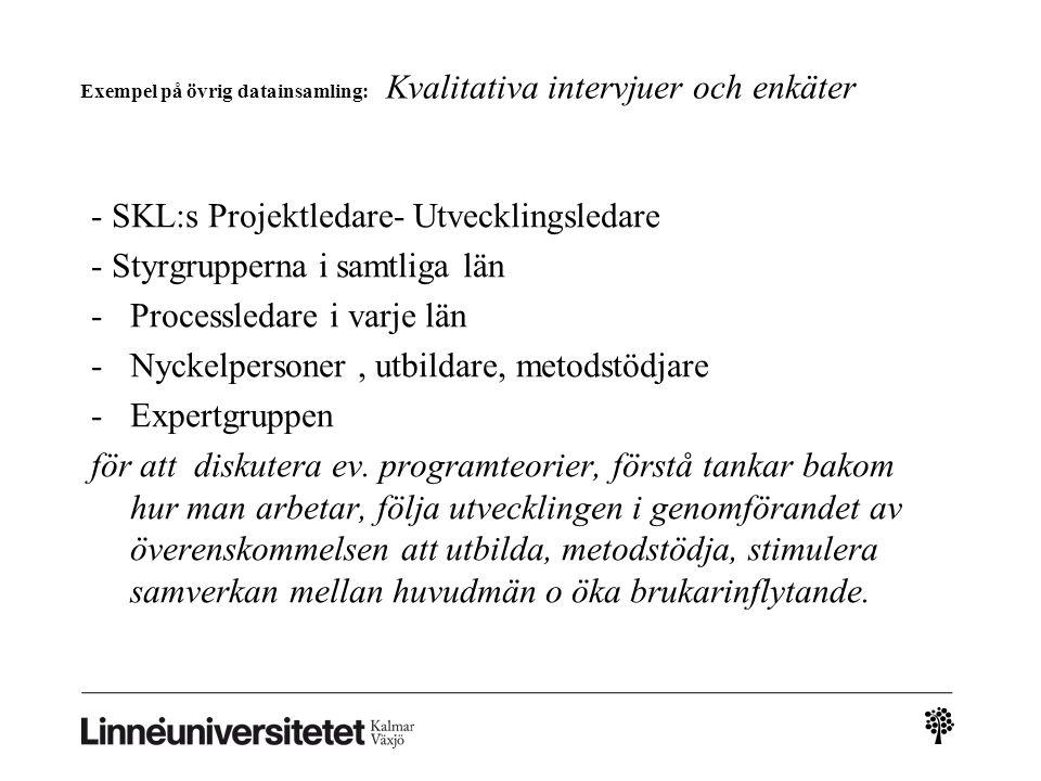 Exempel på övrig datainsamling: Kvalitativa intervjuer och enkäter - SKL:s Projektledare- Utvecklingsledare - Styrgrupperna i samtliga län -Processled