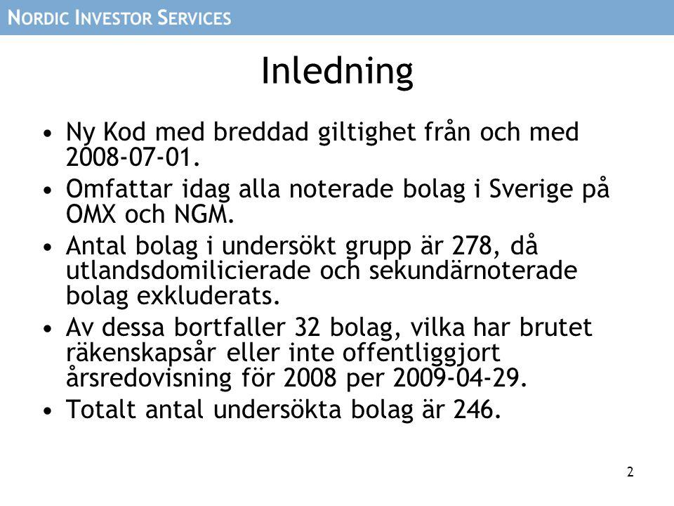 2 Inledning Ny Kod med breddad giltighet från och med 2008-07-01. Omfattar idag alla noterade bolag i Sverige på OMX och NGM. Antal bolag i undersökt