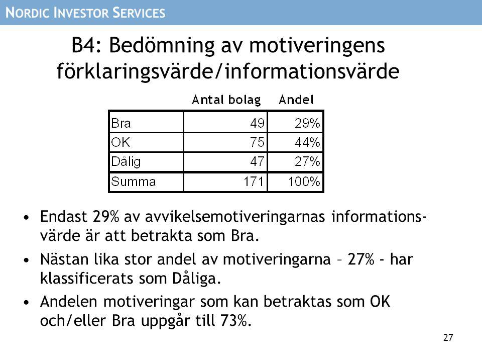 27 B4: Bedömning av motiveringens förklaringsvärde/informationsvärde Endast 29% av avvikelsemotiveringarnas informations- värde är att betrakta som Bra.
