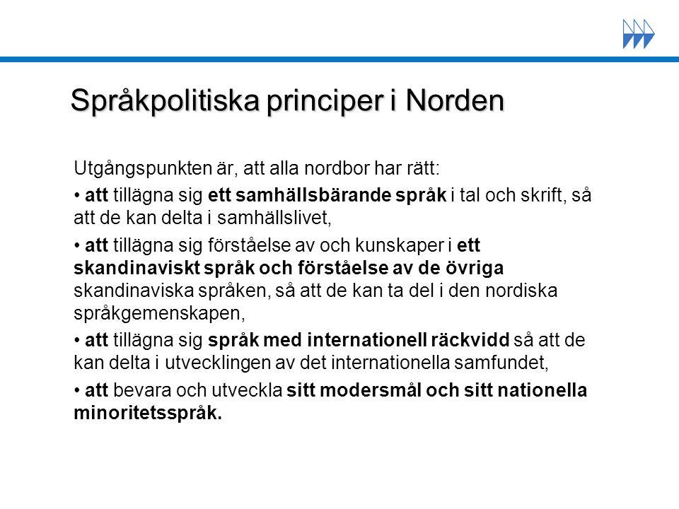 Språkpolitiska principer i Finland jämlikhet funktionell tvåspråkighet mångkulturalism