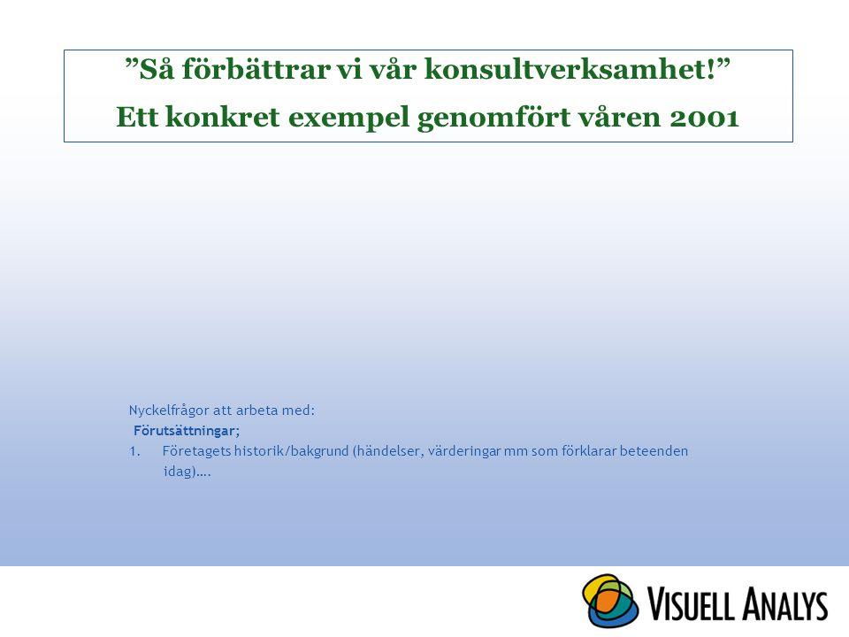 Så förbättrar vi vår konsultverksamhet! Ett konkret exempel genomfört våren 2001 Nyckelfrågor att arbeta med: Förutsättningar; 1.