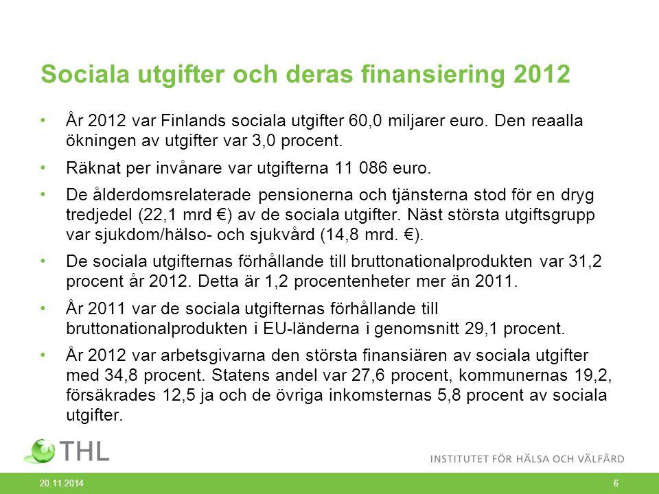 Sociala utgifter och deras finansiering 2012 År 2012 var Finlands sociala utgifter 60,0 miljarer euro.