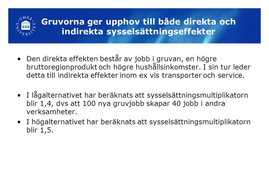 Gruvorna ger upphov till både direkta och indirekta sysselsättningseffekter Den direkta effekten består av jobb i gruvan, en högre bruttoregionprodukt