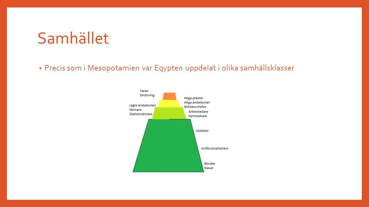 Samhället Precis som i Mesopotamien var Egypten uppdelat i olika samhällsklasser