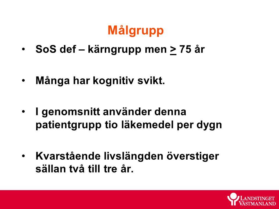 Målgrupp SoS def – kärngrupp men > 75 år Många har kognitiv svikt. I genomsnitt använder denna patientgrupp tio läkemedel per dygn Kvarstående livslän