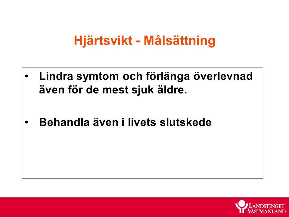 Hjärtsvikt - Målsättning Lindra symtom och förlänga överlevnad även för de mest sjuk äldre. Behandla även i livets slutskede