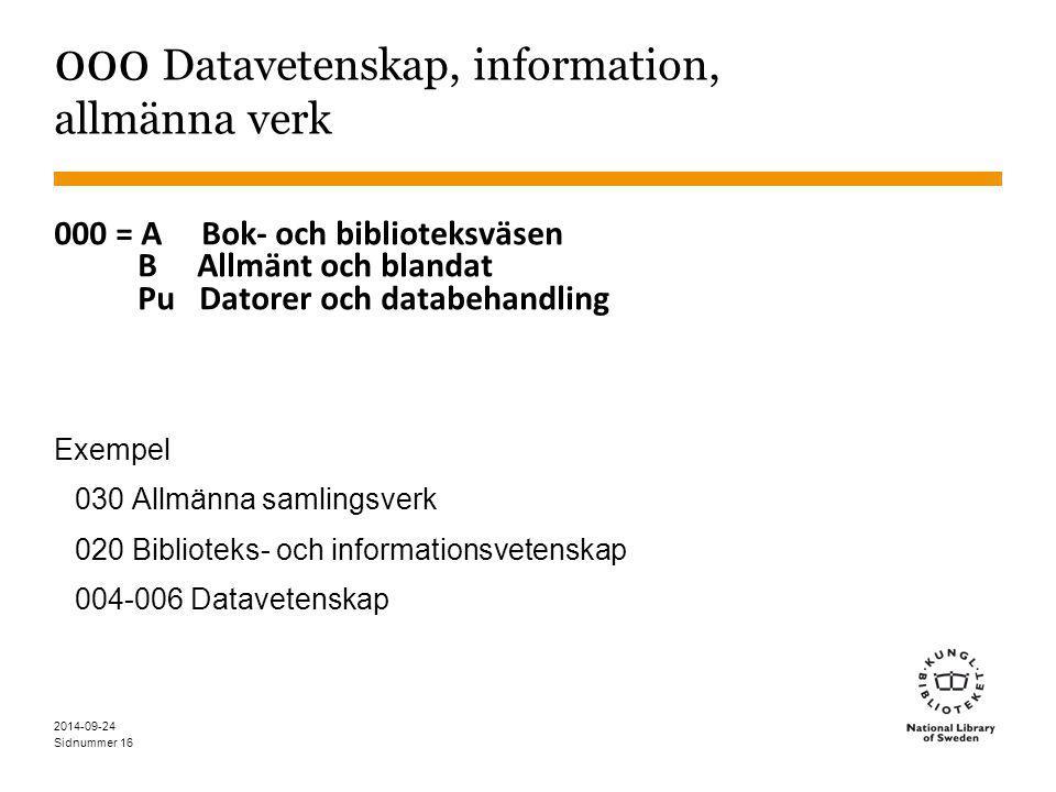 Sidnummer 16 000 Datavetenskap, information, allmänna verk 000 = A Bok- och biblioteksväsen B Allmänt och blandat Pu Datorer och databehandling Exempe