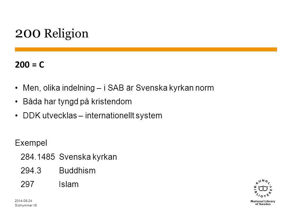 Sidnummer 18 200 Religion 200 = C Men, olika indelning – i SAB är Svenska kyrkan norm Båda har tyngd på kristendom DDK utvecklas – internationellt system Exempel 284.1485 Svenska kyrkan 294.3 Buddhism 297 Islam 2014-09-24
