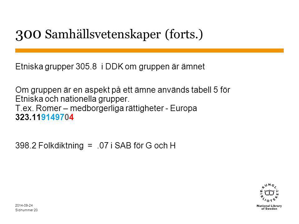 Sidnummer 20 300 Samhällsvetenskaper (forts.) Etniska grupper 305.8 i DDK om gruppen är ämnet Om gruppen är en aspekt på ett ämne används tabell 5 för