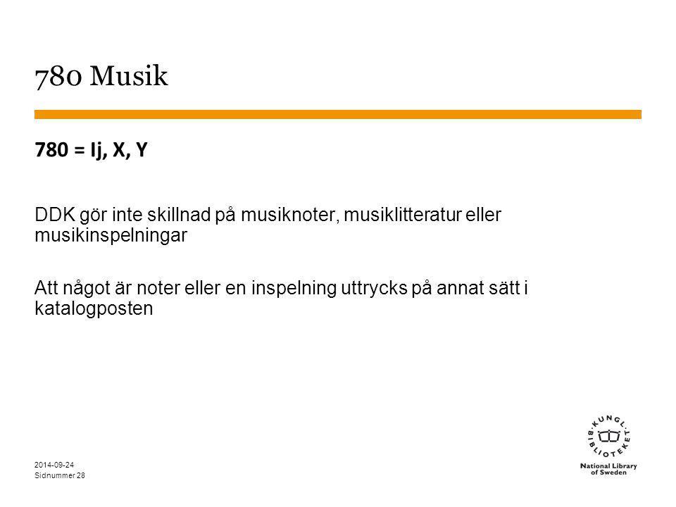 Sidnummer 28 780 Musik 780 = Ij, X, Y DDK gör inte skillnad på musiknoter, musiklitteratur eller musikinspelningar Att något är noter eller en inspelning uttrycks på annat sätt i katalogposten 2014-09-24