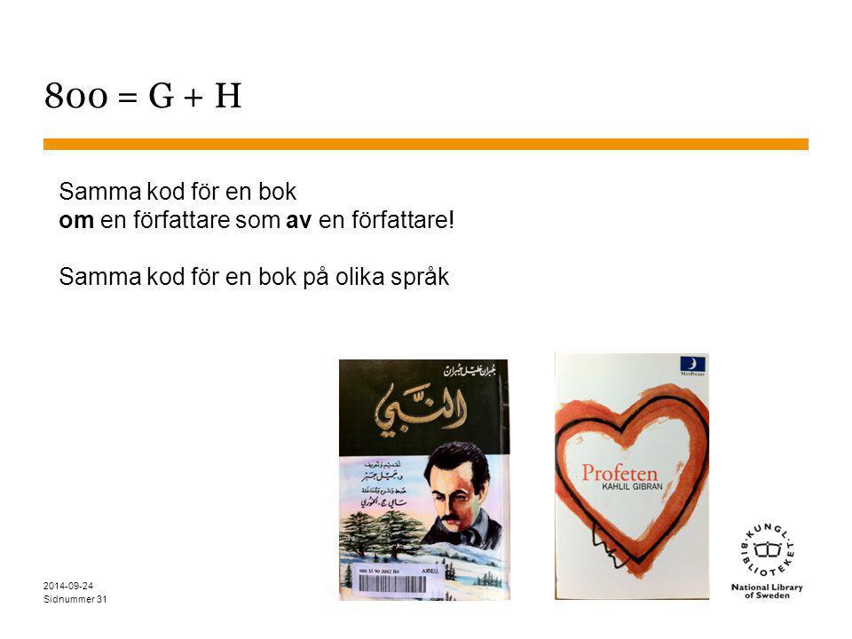Sidnummer 800 = G + H Samma kod för en bok om en författare som av en författare! Samma kod för en bok på olika språk 2014-09-24 31