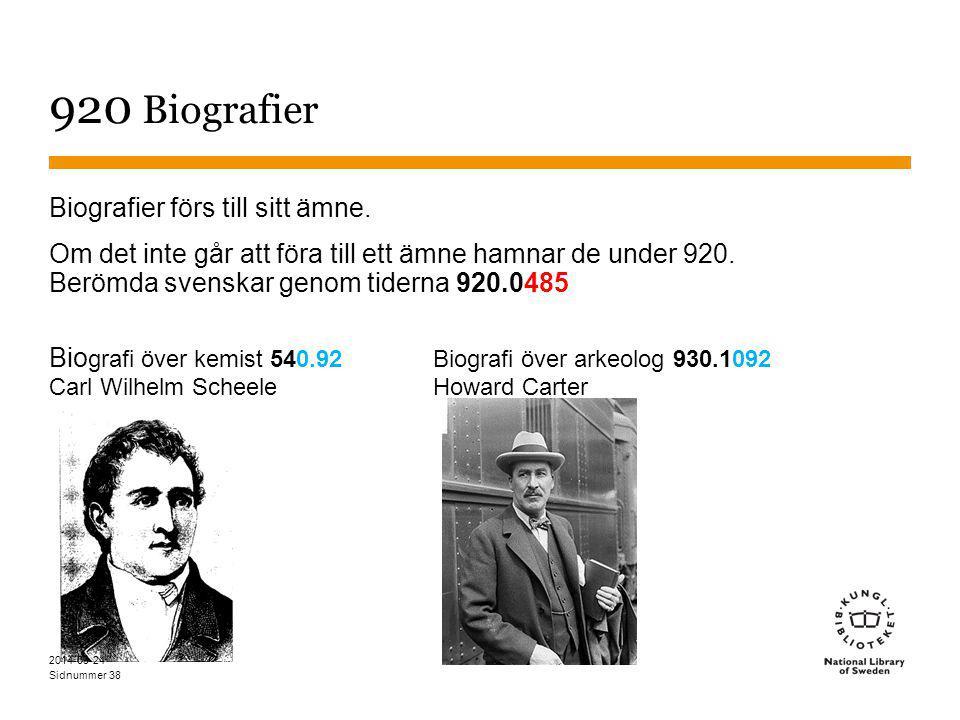 Sidnummer 38 920 Biografier Biografier förs till sitt ämne. Om det inte går att föra till ett ämne hamnar de under 920. Berömda svenskar genom tiderna