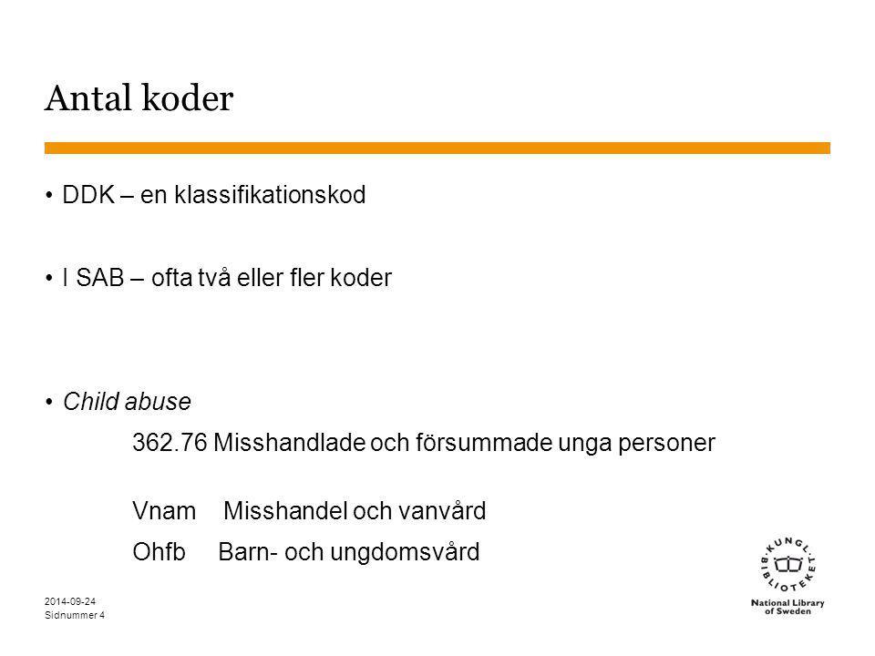 Sidnummer 4 Antal koder DDK – en klassifikationskod I SAB – ofta två eller fler koder Child abuse 362.76 Misshandlade och försummade unga personer Vna
