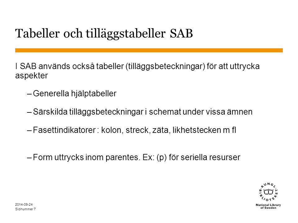 Sidnummer 7 Tabeller och tilläggstabeller SAB I SAB används också tabeller (tilläggsbeteckningar) för att uttrycka aspekter –Generella hjälptabeller –