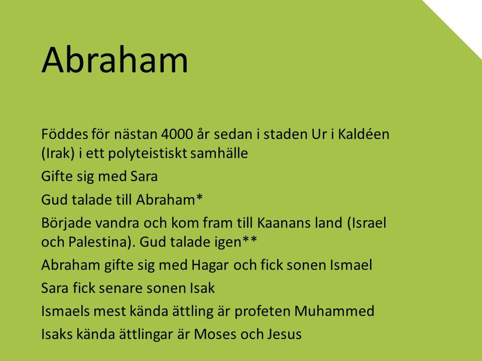 Abraham Föddes för nästan 4000 år sedan i staden Ur i Kaldéen (Irak) i ett polyteistiskt samhälle Gifte sig med Sara Gud talade till Abraham* Började