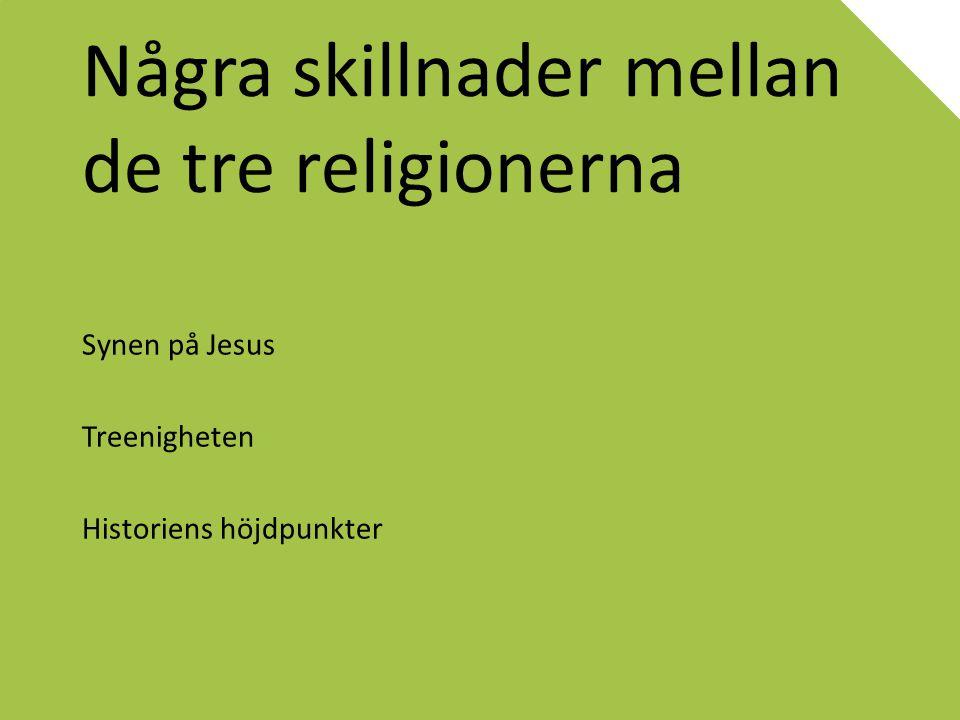 Några skillnader mellan de tre religionerna Synen på Jesus Treenigheten Historiens höjdpunkter