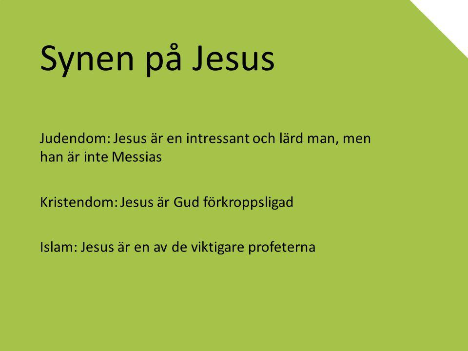 Synen på Jesus Judendom: Jesus är en intressant och lärd man, men han är inte Messias Kristendom: Jesus är Gud förkroppsligad Islam: Jesus är en av de