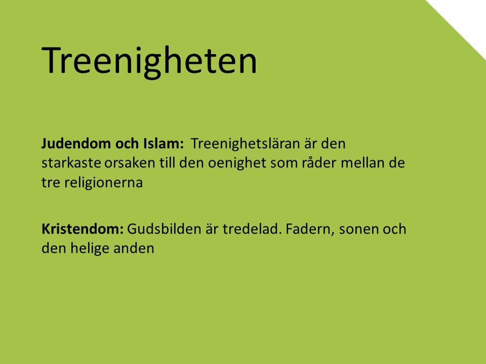 Treenigheten Judendom och Islam: Treenighetsläran är den starkaste orsaken till den oenighet som råder mellan de tre religionerna Kristendom: Gudsbild