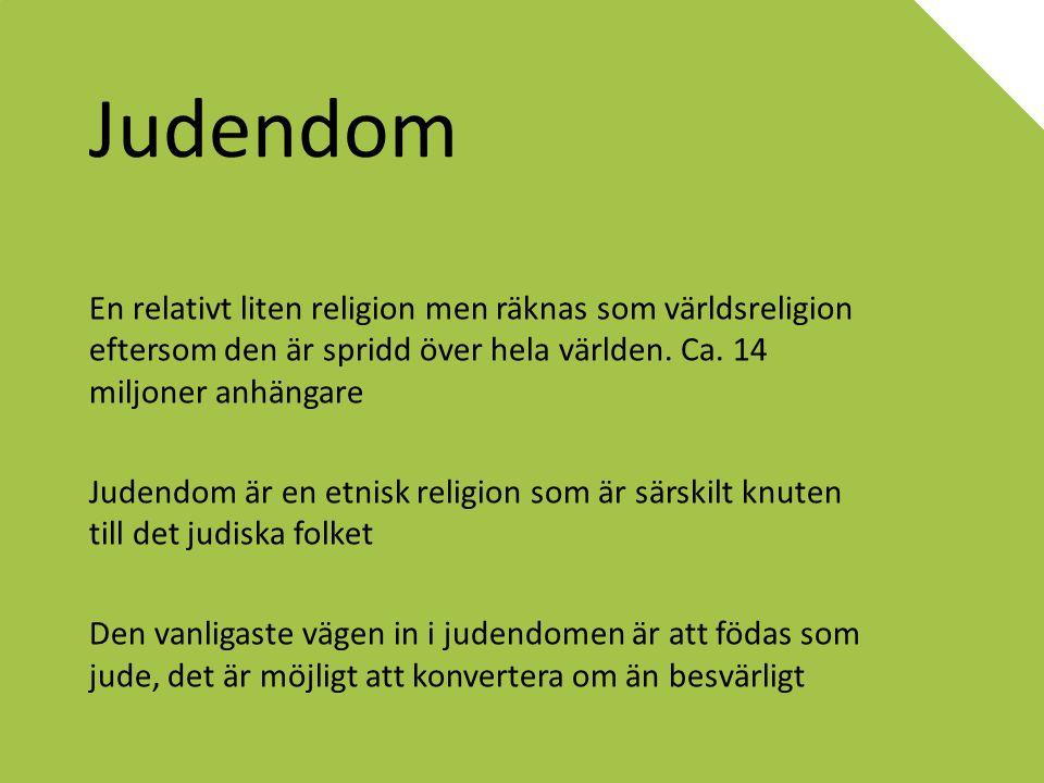 Judendom En relativt liten religion men räknas som världsreligion eftersom den är spridd över hela världen. Ca. 14 miljoner anhängare Judendom är en e