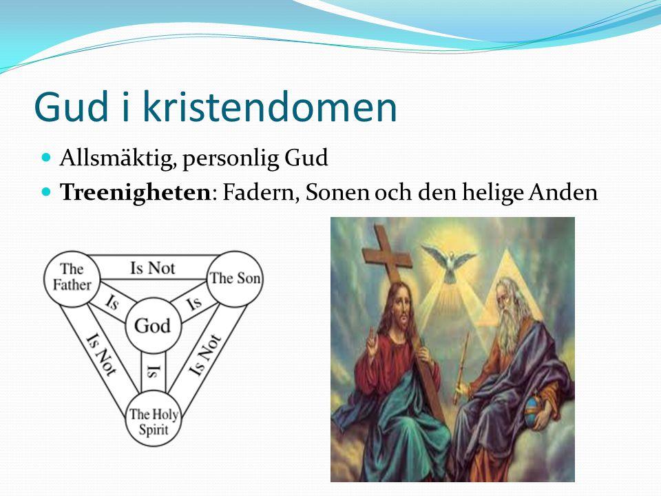Gud i kristendomen Allsmäktig, personlig Gud Treenigheten: Fadern, Sonen och den helige Anden
