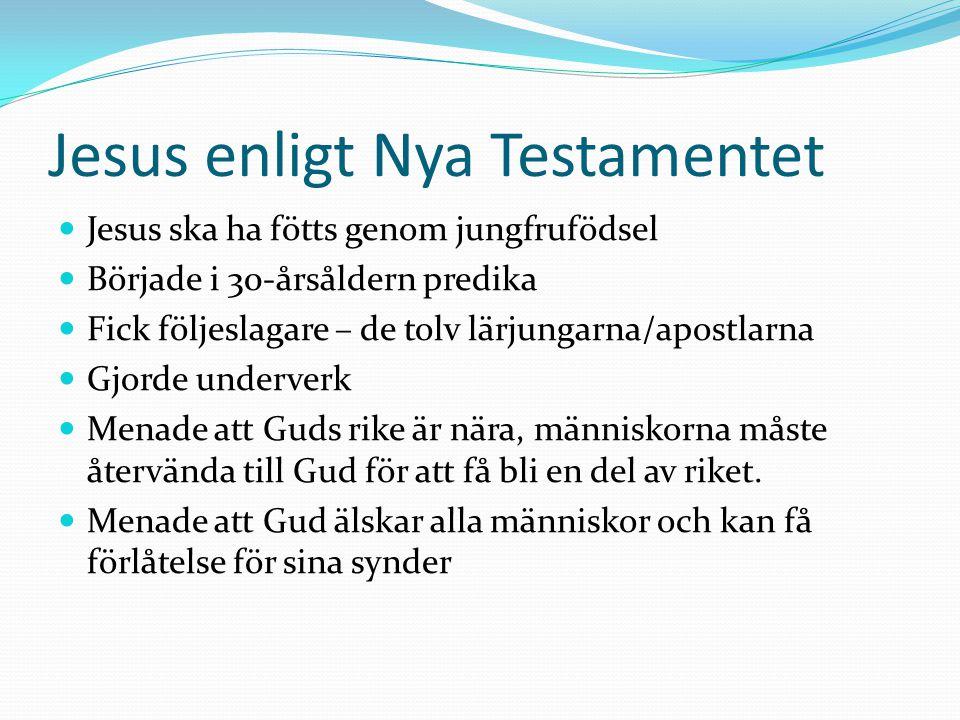 Jesus enligt Nya Testamentet Jesus ska ha fötts genom jungfrufödsel Började i 30-årsåldern predika Fick följeslagare – de tolv lärjungarna/apostlarna