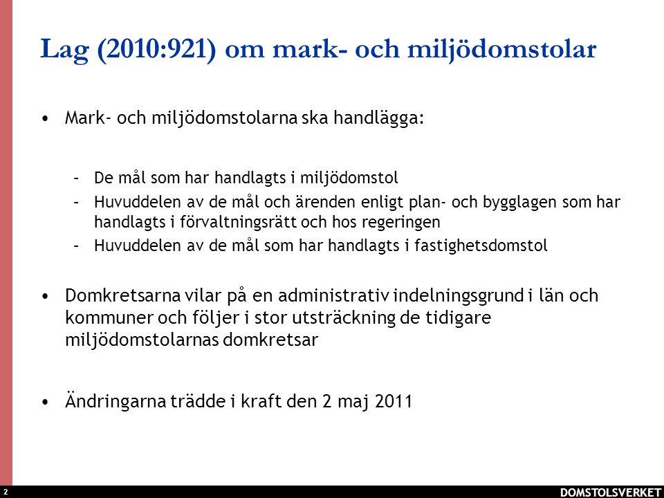2 DOMSTOLSVERKET Lag (2010:921) om mark- och miljödomstolar Mark- och miljödomstolarna ska handlägga: –De mål som har handlagts i miljödomstol –Huvudd