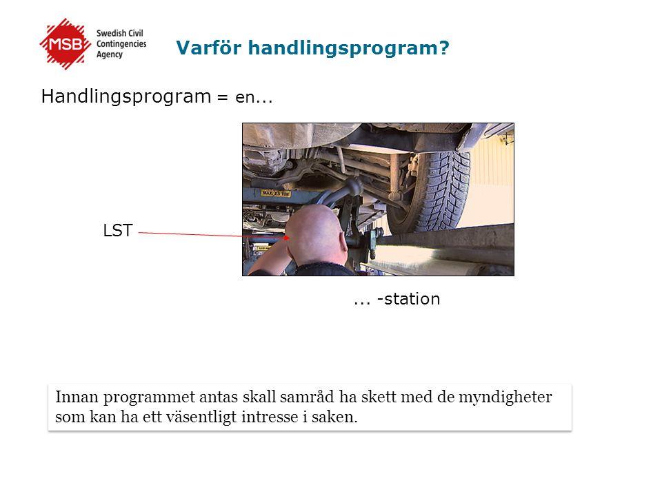 Varför handlingsprogram? Handlingsprogram = en...... -station LST Innan programmet antas skall samråd ha skett med de myndigheter som kan ha ett väsen