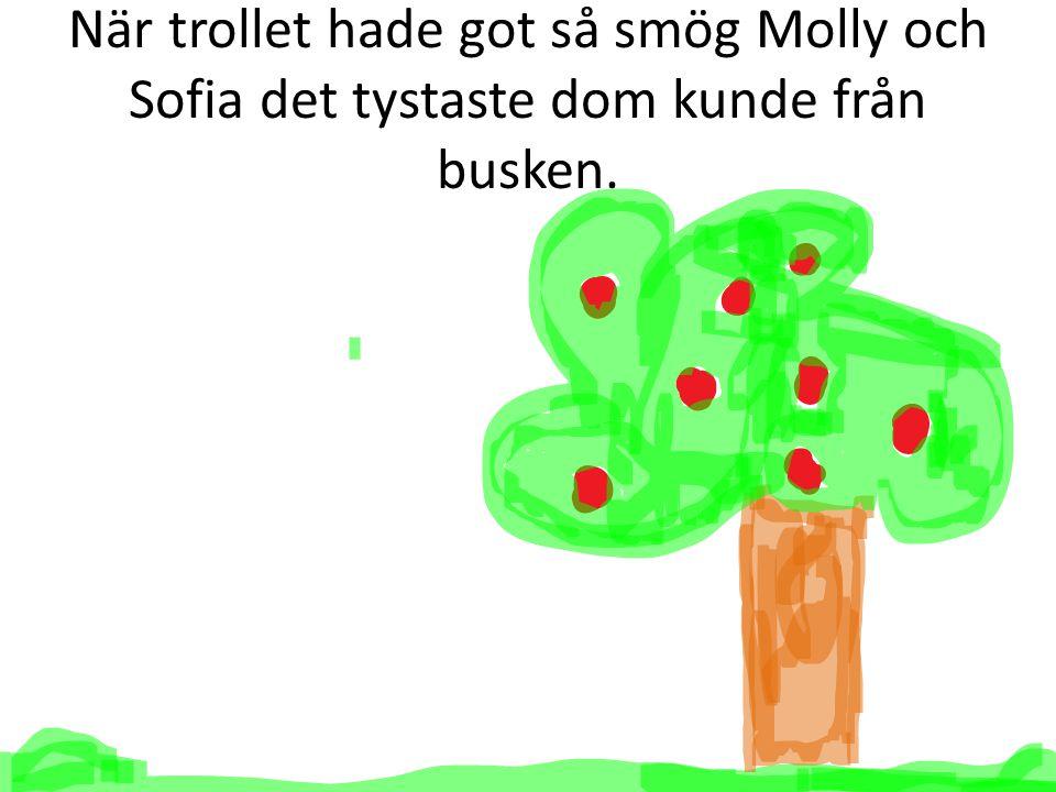 När trollet hade got så smög Molly och Sofia det tystaste dom kunde från busken.