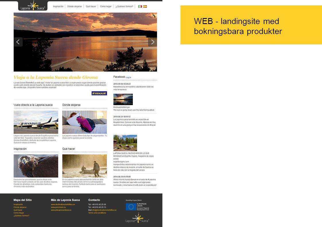 WEB - landingsite med bokningsbara produkter