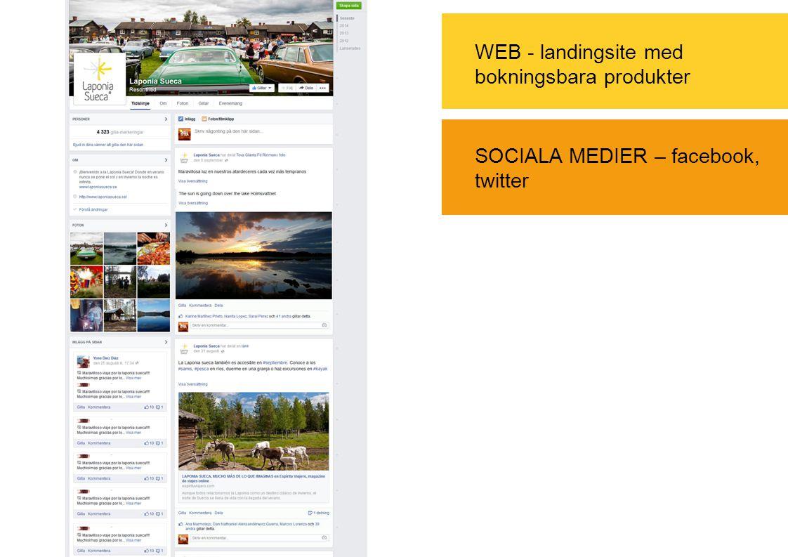 WEB - landingsite med bokningsbara produkter SOCIALA MEDIER – facebook, twitter